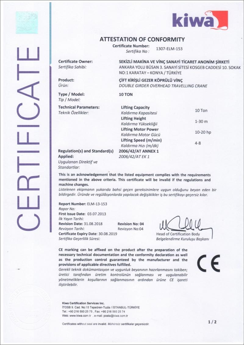 Quality Certificates - Sekizli Crane - Trolley Hoists